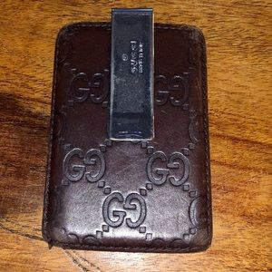 GUCCI GG Dark Brown Leather Money Clip Card/Case